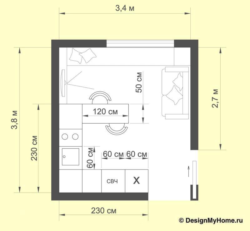 Планировка кухни 12 кв. м (Диана Пономарева, г. Москва)