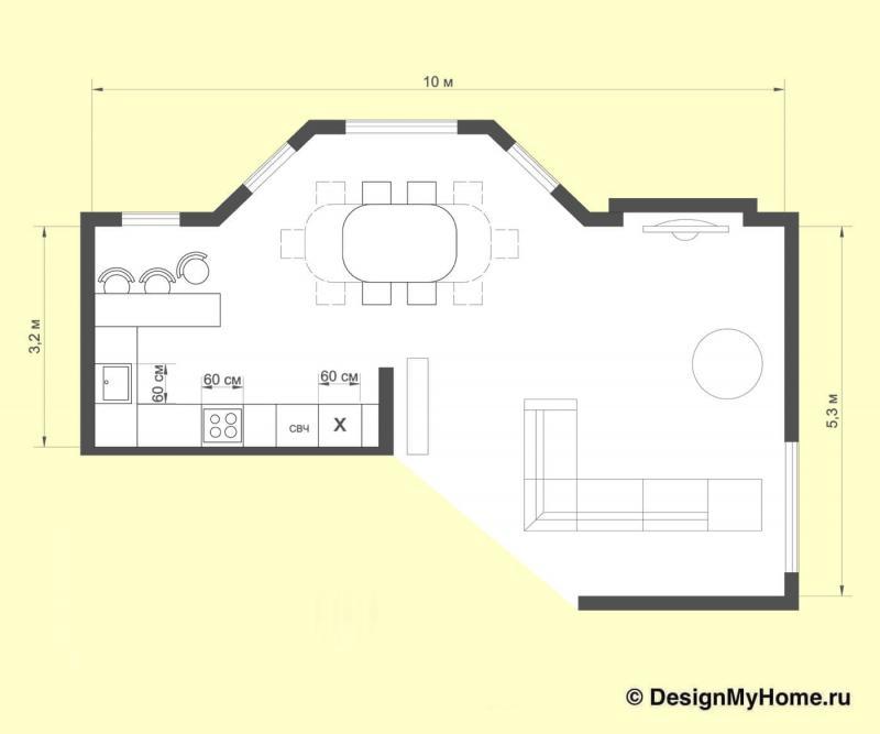 Кухня в стиле американская классика (Insomnia, г. Челябинск) - план