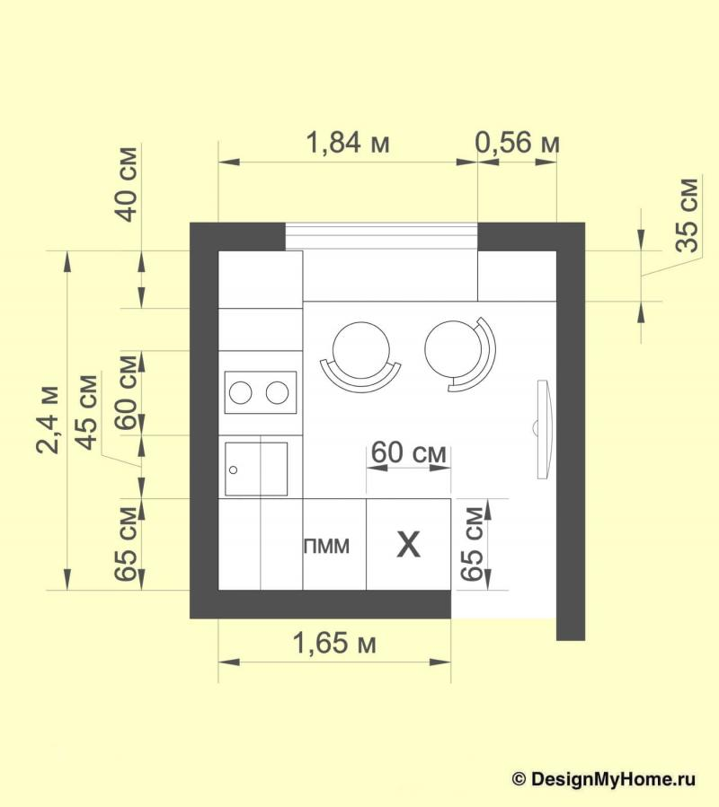 Планировка кухни 6 кв.м (Диана Пономарева, г. Москва)