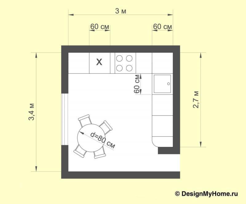 Планировка кухни 11 кв.м (Наталья Бучнева, г. Челябинск)