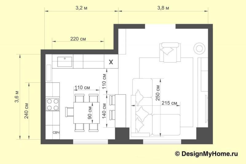 План кухни-гостиной (Наталья Бучнева, г. Челябинск)