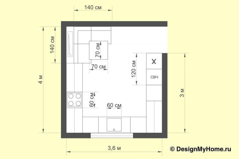 План кухни с П-образной планировкой (artvita, г. Санкт-Петербург)