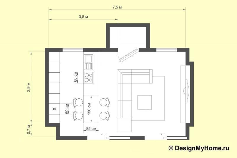 План кухни в стиле фьюжн. 44 кв. м, г. Киев