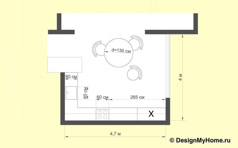 План кухни в классическом стиле в темных тонах (op-2, г. Москва)