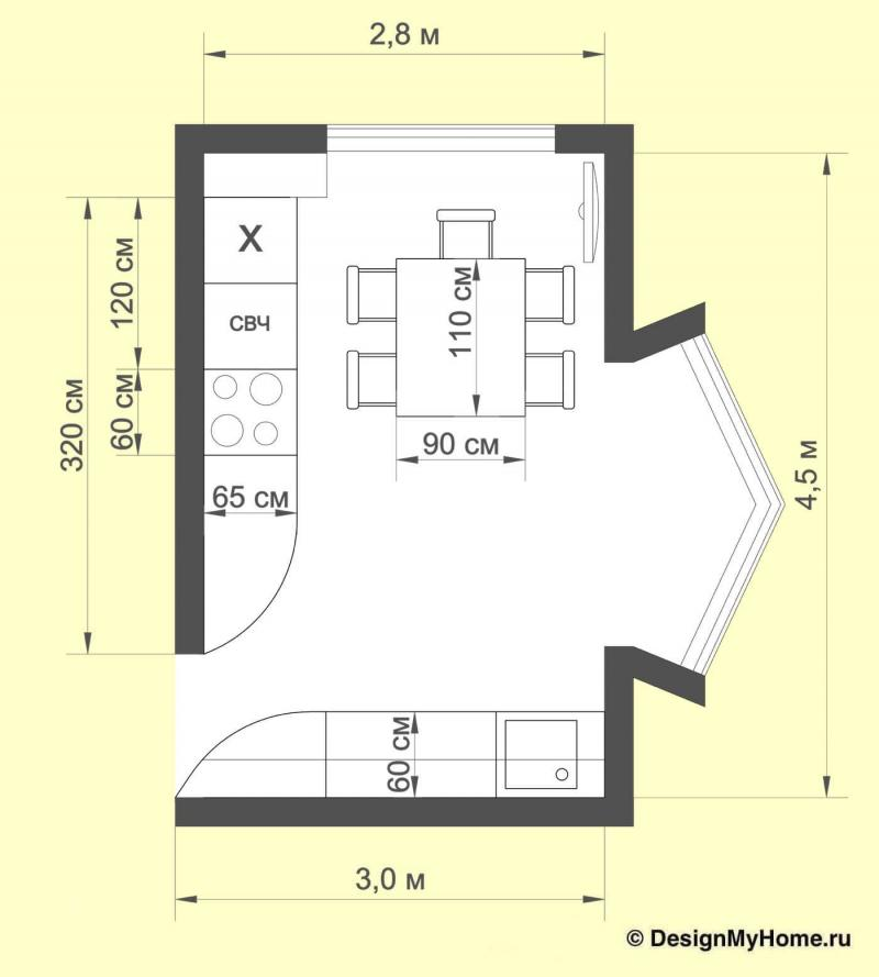 Планировка кухни 14 кв.м (Instilier, г. Москва)