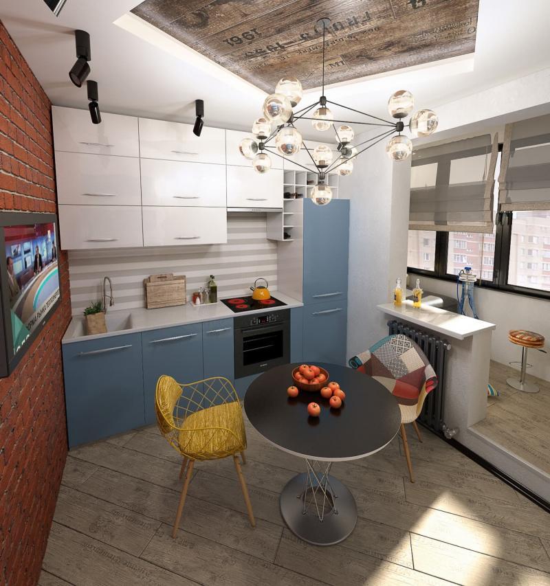 Кухня 9 кв.м в стиле лофт (Instilier, г. Москва) 1