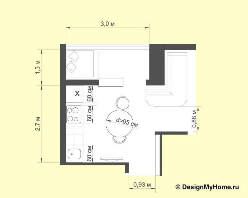 Планировка кухни 9 кв.м в стиле лофт (Instilier, г. Москва)