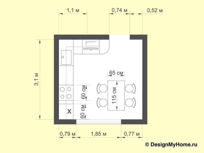 Планировка кухни 10 кв.м в стиле фьюжн (Instilier, г. Москва)