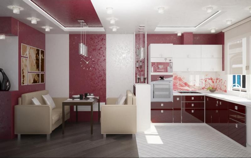 Кухня красного цвет (Наталья Бучнева, г. Челябинск) 1
