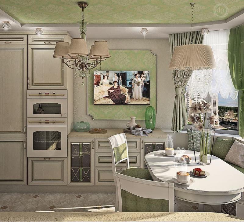 Зеленая кухня в стиле прованс (г. Москва) - фото 1