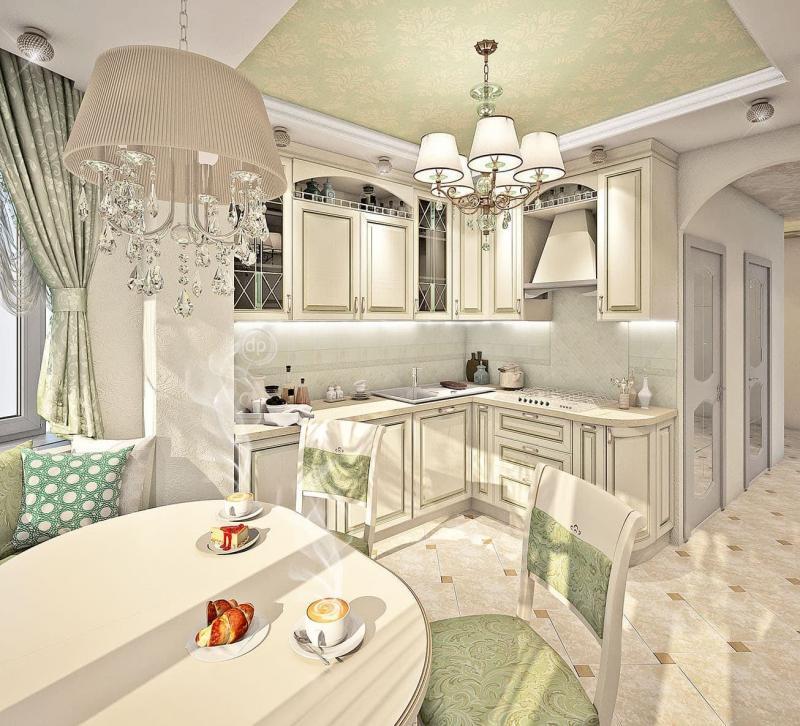 Зеленая кухня в стиле прованс (г. Москва) - фото 2