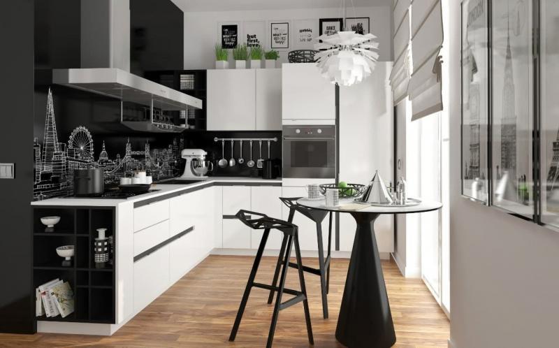 Кухня в черном и белом цвете (op-2, г. Москва) 1