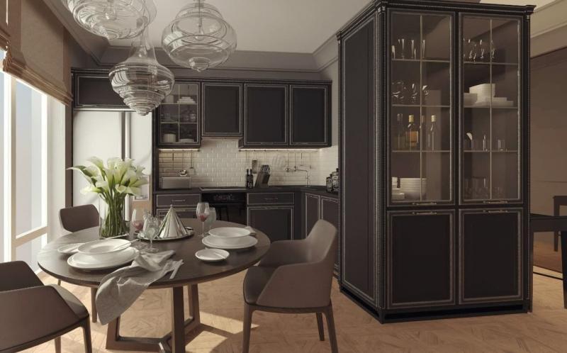 Фото кухни в классическом стиле в темных тонах (op-2, г. Москва)