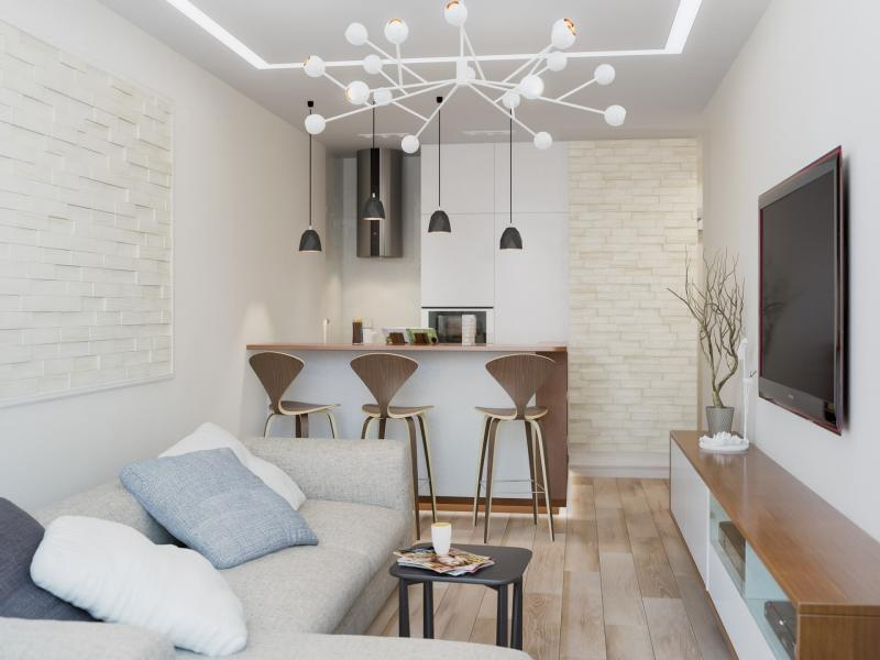 Дизайн проект двухкомнатной квартиры в светлых тонах