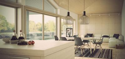 кухонные обои для кухни-студии 8
