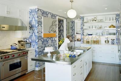 кухонные обои голубая гамма 13