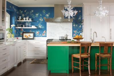 кухонные обои голубая гамма 4