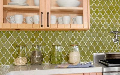 кухонные обои зеленая гамма 12