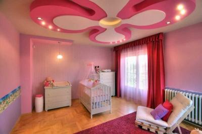 Дизайн потолка из гипсокартона для детской 2