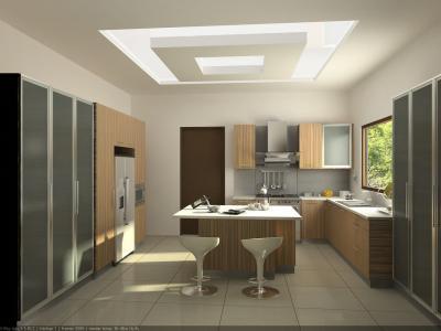 Потолок из гипсокартона для кухни 5