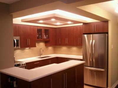 Потолок из гипсокартона для маленькой кухни 4