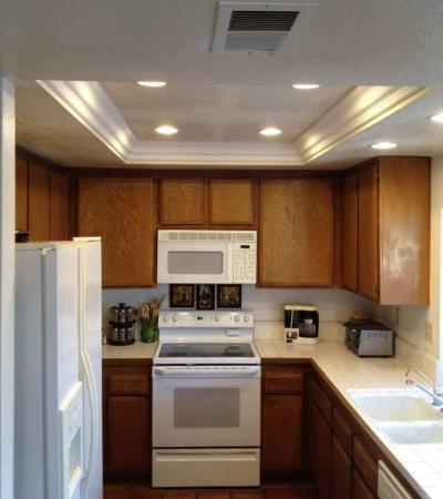 Потолок из гипсокартона для маленькой кухни 7