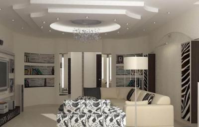 Потолок из гипсокартона для зала в хрущевке 10