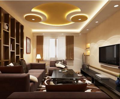 Потолок из гипсокартона в гостиной 10
