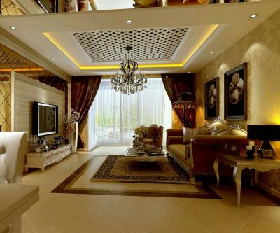 Потолок из гипсокартона в гостиной 5