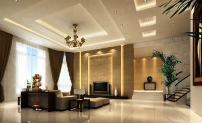 Потолок из гипсокартона в гостиной 7