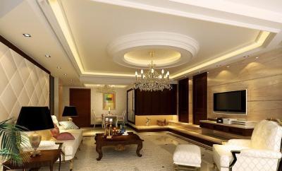 Потолок из гипсокартона в гостиной 8