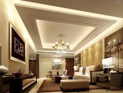 Потолок из гипсокартона в кухне-гостиной 1