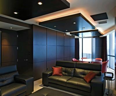 Потолок из гипсокартона в кухне-гостиной 6