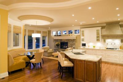 Потолок из гипсокартона в кухне-гостиной 7