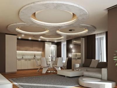 Потолок из гипсокартона в кухне-гостиной 8