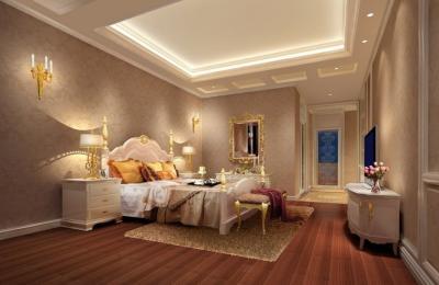 Потолок из гипсокартона в спальне 6