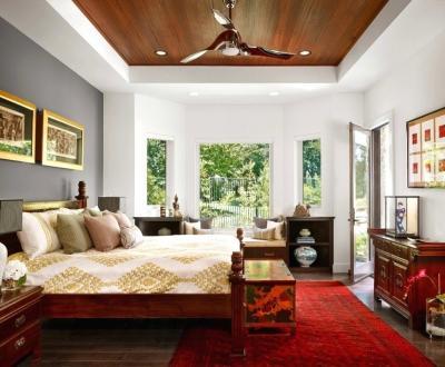 Потолок из гипсокатона для спальни 12-14 м 5