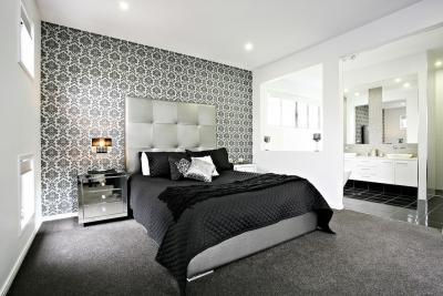 Черные обои в интерьере спальни 2