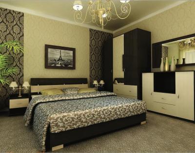 Комбинированные обои в интерьере спальни 2
