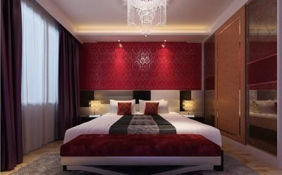 Красные обои в интерьере спальни 1
