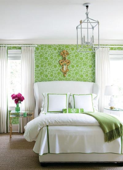 Зеленые обои для спальни 1