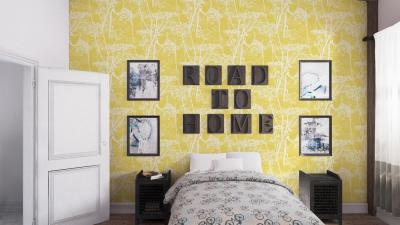 Желтые обои в интерьере спальни 5