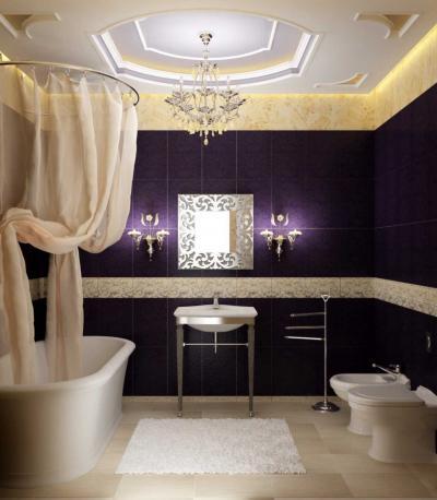 Цвет глубокий фиолетовый в интерьере ванной