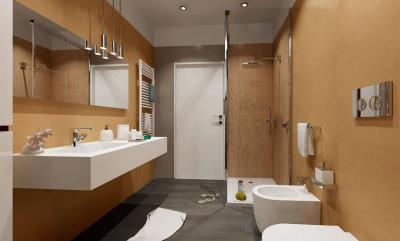 Цвет Куркума в интерьере ванной комнаты