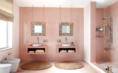 Цвет Тысячелетний розовый в интерьере ванной комнаты