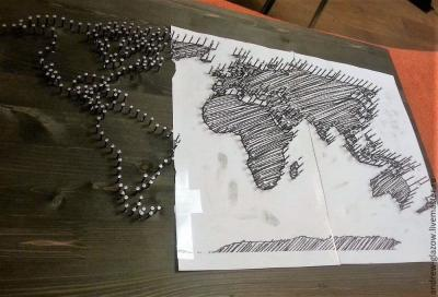 Карта Мира в технике стринг-арт Мастер-класс