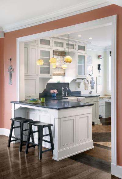 Барная стойка в угловой кухне 6
