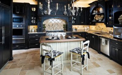 Черная угловая кухня 6
