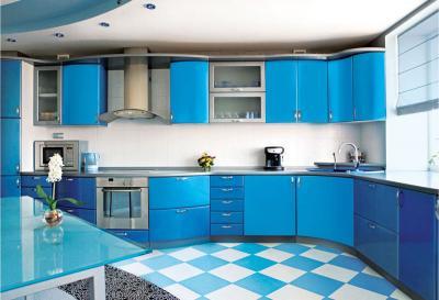 Голубая угловая кухня 1