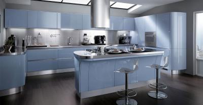 Голубая угловая кухня 2